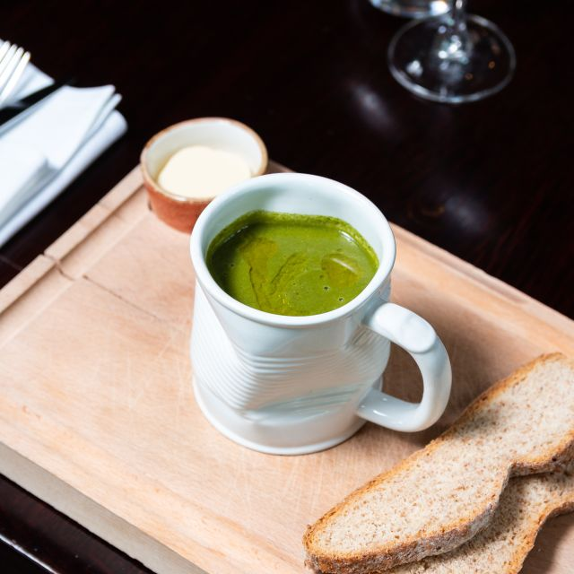 Watercress and spinach soup - Scoff & Banter - Bloomsbury, London