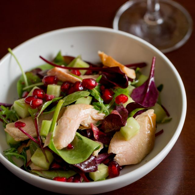 Smoked salmon, cucumber and pomegranate salad - Scoff & Banter - Bloomsbury, London