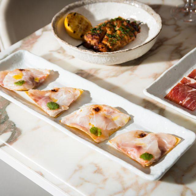 Sea Bass Sashimi Flat Tacos El Diplomat Chicken - May Fair Kitchen, London