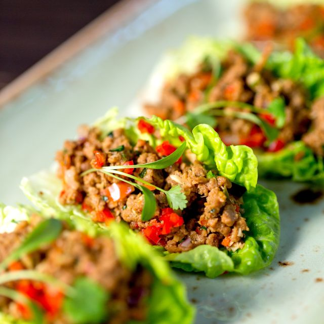 Steak & Lobster Warm Veggie Mince Lettuce Cups With Chilli Ginger Dressing - Steak & Lobster Marble Arch, London