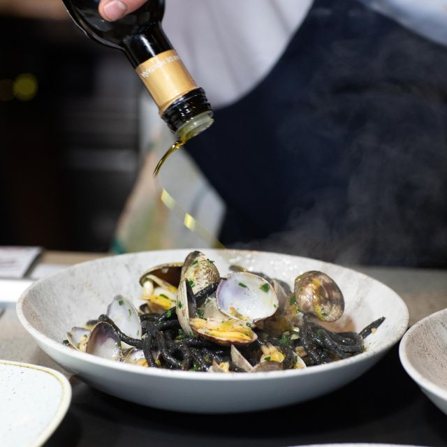 Squid Ink Spaghetti With Manila Clams - Home Block at CedarCreek Estate Winery, Kelowna, BC