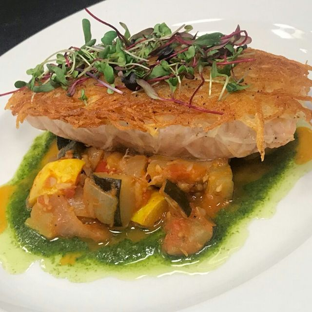 Potato Crusted Salmon With Ratatouille & Love - Le Manhattan Bistro, Wilkes Barre, PA